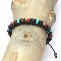 Fait Main Bracelet Style Shamballa Homme/Men's perles Pierre gemme Bois Cocotier
