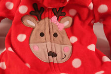 NEW Carters Girls Pajama Zip Holiday PJ Newborn Red Dots Reindeer Footies NWT