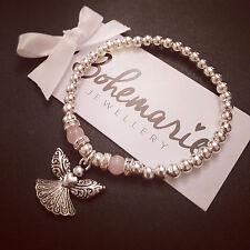 Silver & Rose quartz angel bracelet gemstone jewellery boho gypsy stacking