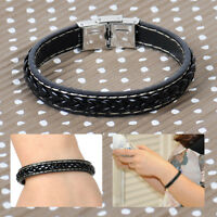 Men's Leather Cross Braided Bracelet Bangle Wristband Cuff Stainless Steel Clasp