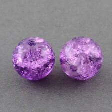 100 x Purple Crackle Glass Beads Jewellery Craft Findings - 6mm - LB1259