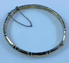 Hinged Bangle Bracelet Hallmarked Sterling Silver JS Vintage 8.5 Grams