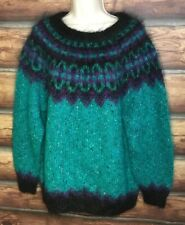 ICELANDIC DESIGN Sweater Mohair Wool Fair Isle Green Purple Black Sz M/L Fuzzy