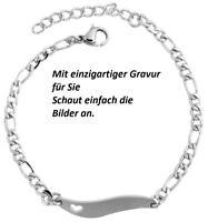 Kinderamrkette Armband Armreif Armkette Edelstahl  Silber Gravur Geschenk Dame