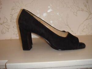 Women's Vintage Nine West Black Suede Open Toe Shoes Heels 7 1/2 M UK 5 Brazil