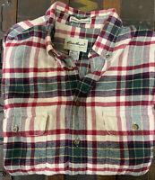 EDDIE BAUER Bainbridge Flannel Button Down Red Plaid Cotton Shirt Size L