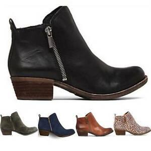 Womens Ladies Ankle Boots Chelsea Low Mid Block Heels Zip Up Booties Shoes Size