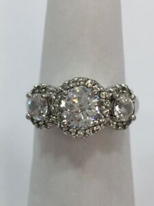 Clear Cz Round 3 Stone Accent Halo Style Wedding Ring Size 5 1/4 Sterling 925