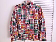 Madras Plaid Patchwork Jacket Blazer Coat Mandarin Collar Lined Orvis Women 6