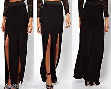 Women Casual Party Club High Thigh Front Split Slit Full Maxi Long Skirt Black M