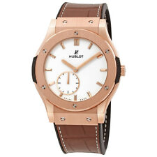 Hublot Classic Fusion Ultra-Thin King Gold  White Dial Brown Leather Band 18