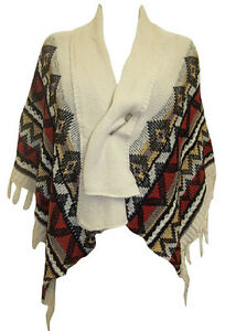 SPECIAL OFFER NEW Cream Mix Aztec Design PIN Fastening Poncho - Size S/M & M/L