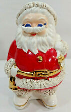 Vtg 1950s Santa Claus Christmas COIN Bank Porcelain Spaghetti & GOLD Trim Japan