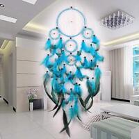 Handmade Blue Circular Dream Catcher Feather Wall Hanging Home Car Decor Gift