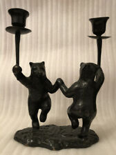 Eddie Bauer Bronze Dancing Bear Two-Taper Candle Holder