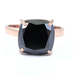 4.20 Ct Cushion Cut Black Diamond Solitaire Ring in Rose Gold, Amazing Shine !