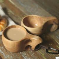 Wooden Drinking Cup Camping Portable Outdoor Wood Mug Coffee Tea Milk WT