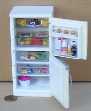 1:12 Scale White Wooden Fridge Freezer Complete With Food Tumdee Dolls House