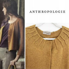 Anthropologie CHARLIE & ROBIN Cardigan Sweater Snap Mustard Yellow Gold Sz S