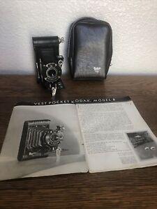 Antique Kodak A127 Vest Pocket Model B Folding Camera w/Stylus, Manual,Bag- Rare