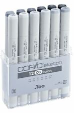 COPIC SKETCH MARKER PENS - 12 COOL GREY COLOURS - GRAPHIC ART MARKERS