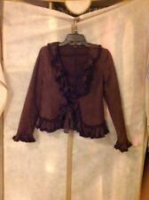 Anthropologie HAZEL Brown Ruffled Jacket Front Lace Ties Size Small