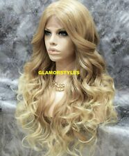 Human Hair Blend Lace Front Full Wig Long Wavy layered Blonde Mix Hair Piece