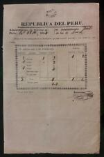 PERU official postal stampless document at Paita 1854 ship to Lima by VAPOR mark