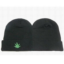 Black Marijuana Weeds Leaf Hemp Pot Knit Beanie Skull Cap Hat Ski Warm Gift