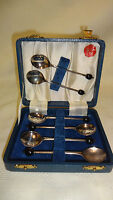 Vintage Boxed Set Of 6 Art Deco Silver Plated Coffee Bean Spoons - Yeoman Plate