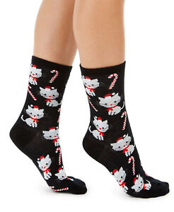 Womens Candy Canes and Cats Crew Socks Black 1 Pair CHARTER CLUB - NWT