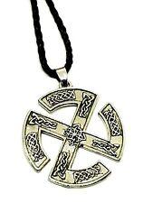 Slavic Sun Wheel Pendant Kolovrat Celtic Knot Viking Corded Necklace