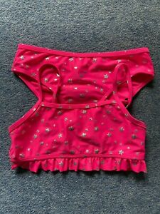 Primark Pink & Silver Star Print Bikini Swimming Costume Age 5-6 7-8 Years NEW