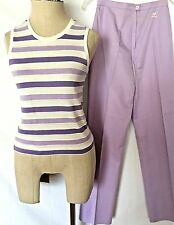 Vtg 60s 70s Courreges Cotton Blend Lt. Purple Strip Top/ Pants Set Sz O