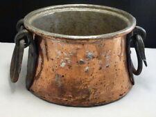 Antique TURKISH HEAVY Hand made Copper Pot LARGE Cauldron Wrought IRON Handles