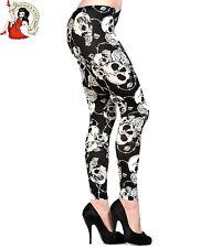 Banned Skull Roses Leggings Alternative Black Off White