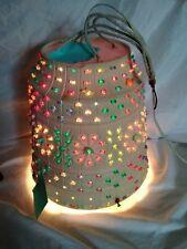 Vintage Lawnware Flower Pot Swag Light Lamp Beaded Flower Retro RV-Camper-Patio