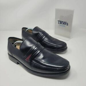 Clarks Mens Loafer Dress Shoes Black Moc Toe Strap Low Top Slip Ons 10