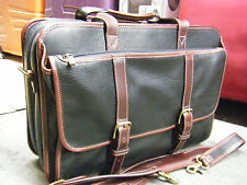 KORCHMAR BLACK / BROWN LEATHER EXPANDABLE MESSENGER BAG BRIEFCASE WITH STRAP