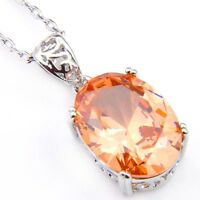 Holiday Jewelry Gift Oval Cut Champange Citrine Gemstone Silver Necklace Pendant