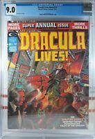 🩸 CGC 9.0 WP DRACULA LIVES ANNUAL #1 MARVEL COMICS 1975 MORBIUS SATANA TOMB OF
