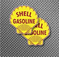 "2x 2.75"" Vintage SHELL Gasoline Gas Pump Decal Sticker Service Station Moto GP"