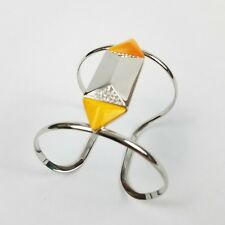Rebecca Minkoff bangle bracelet rhinestone silvertone yellow studded pyramid