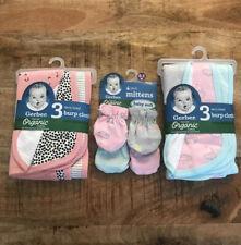 Gerber Organic Cotton Shower Gift Baby Girls Terry Lined Burp Cloths Mittens