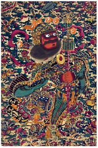 6936.Asian man in colorful costume blending in with bkgd.POSTER.art wall decor