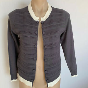 NEW Cardigan Size 10 Grey with cream trim Long sleeves Rib front knit Women's