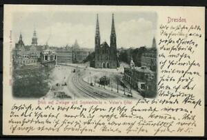 Ak Dresden Panoramic Views Zwinger And Sophienkirche Hotel Weber Tramway 1899