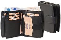 Rinaldo® Damen Geldbörse mit vielen Fächern in Schwarz aus weichem Leder