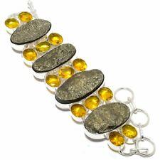 "Peruvian Pyrite Druzy, Citrine 925 Sterling Silver Bracelet 7-8"" AK"