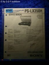 Sony Service Manual pslx350h Turntable System (#6745)